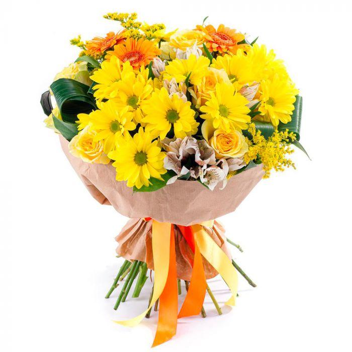 """Букет из желтых хризантем и гербер """"Счастье в глазах"""""""