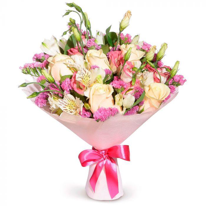 """Букет из роз и лизиантусов """" Приятный сюрприз"""""""
