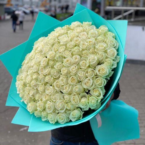 """Букет из 101 розы Аваланж """" Чистое небо"""" 80 см"""