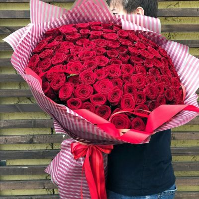 """Букет из 101 розы """"Гран При"""" 80 см"""