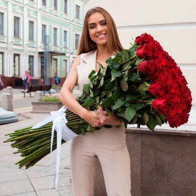 Букет из 101 красной розы 100 см