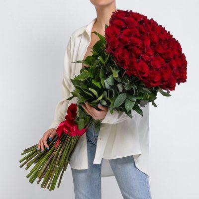 51 красная роза 100 см
